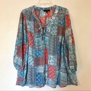 Plus size boho patterned long sleeve blouse